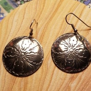 Stamped silver medallion earrings